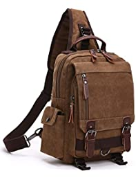Aidonger Unisex Vintage Canvas Shoulder Bag Messenger Bag Chest Bag (Coffee)