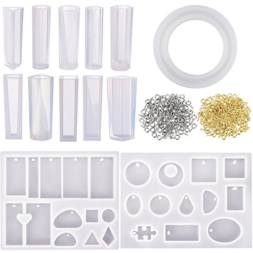 Mtlee 13 Pieces Jewelry Casting Molds Assorted Styles Mold Resin Casting Molds Silicone Resin Molds Set with 200 Pieces Screw Eye Pins for Pendant Jewelry Making DIY