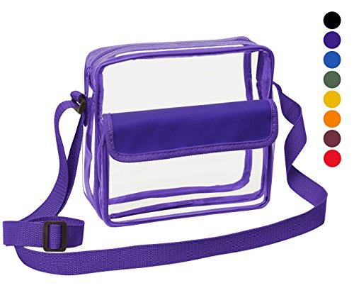Clear Cross-Body Messenger Shoulder Bag w Adjustable Strap, NFL Stadium Approved Transparent Purse (Purple)
