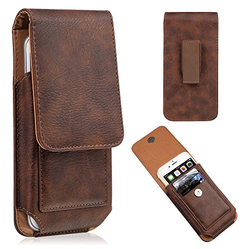 iPhone 7 Plus Pouch Case, iNNEXT Premium Vertical Leather Case Pouch Holster with Magnetic Closure, Leather Pouch Carrying Case with Swivel Belt Clip Holster for iPhone 6 / 6S / 7 Plus 5.5'' (Brown)