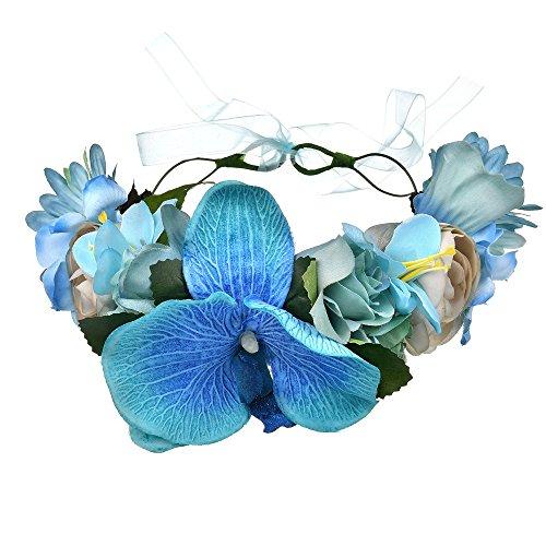 Vivivalue Boho Handmade Phalaenopsis Flower Wreath Halo Headband Floral Hair Garland Crown Headpiece with Ribbon Festival Wedding Blue