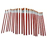 Blomiky 24 PCS Flat Tipped Paint Brushes Set-Nylon Bristles with Wooden Long Handle Suitable for Watercaolor Oil Acrylic Painting Draw Brushes 24 Red