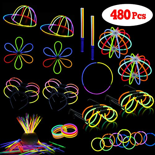 LaRibbons 480Pcs Glow Sticks in Bulk for Birthday Party Favors, Assorted -