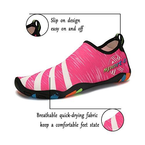ASUGE Herren Damen Wasserschuhe Multifunktionale Quick-Dry Aqua Schuhe Leichte Schwimmschuhe Hausschuhe Rose