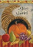 Toland Home Garden Delicious Cornucopia 28 x 40 Inch Decorative Give Thanks Harvest Autumn Thanksgiving House Flag Review