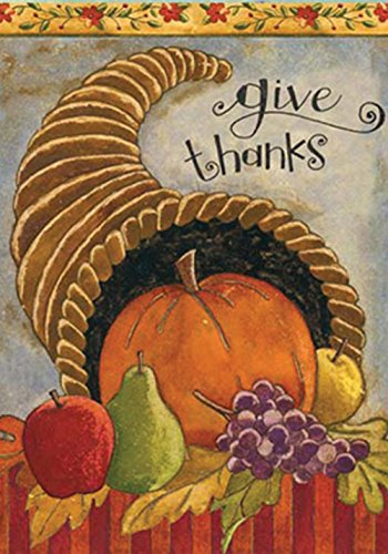 Give Thanks Harvest - Toland - Delicious Cornucopia - Decorative Give Thanks Harvest Fall Autumn USA-Produced House Flag