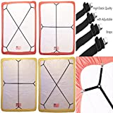 Bed Suspender Crisscross 2 Ways-Adjustable Long Gripper/Strap/Holder/Fastener for Your Bed. (Set of 2). (Black)