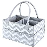 Aurelius Baby Diaper Caddy Organizer Portable Nursery Storage Bin for Baby Wipes and Nappy,Perfect for Travel or Everyday Changing Needs (Striped Grey)