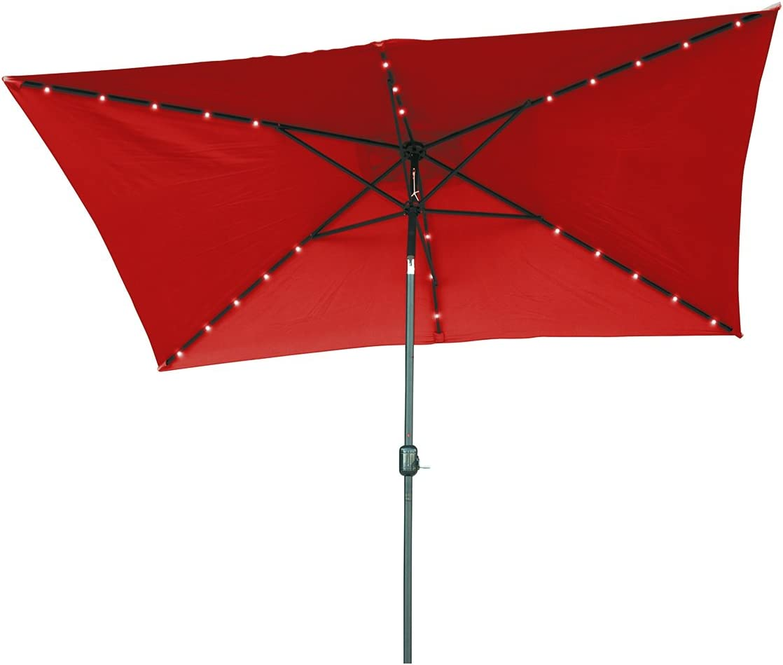 Trademark Innovations 10 x 6.5 Rectangular Solar Powered LED Lighted Patio Umbrella with Gray Circle Geometric Base Red