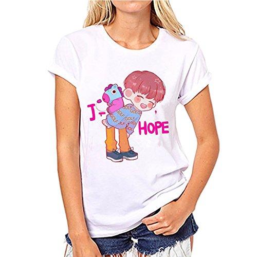 Femme BTS Manches Et Shirt T A4 Kpop Discovery en Courtes qUWB6c