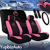 Yupbizauto Brand 16 Pieces Universal Heart Design Car Seat Covers Set with Front and Rear Seat Covers, Steering Wheel Cover, Seat Belt Cover, Floor Mat Set and Air Freshener