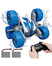 REMOKING Waterproof RC Stunt Car for Kids,2.4Ghz Amphibious All Terrain 6WD High Speed Remote Control Car, Double Sided 360° Rotating RC Vehicle,Toys for Boys and Girls 6 7 8 9 Years Old