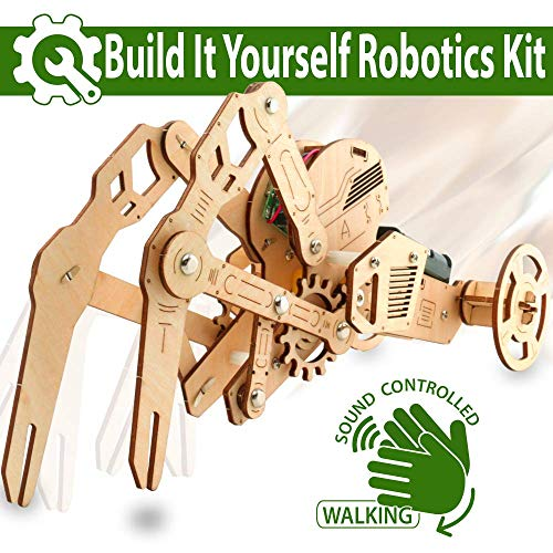 (UC Global Trade Inc 3D DIY Walking Robot Kit Mechanical Wooden Puzzle - Sound Controlled Crawfish Robotics Toy, Wood)