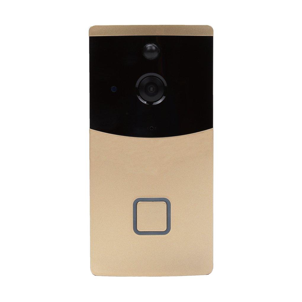 ELENXS New Wifi Drahtlose Türklingel 720p HD-Video Remote Türsprechtelefonanlage Kit Nachtsicht Motion Detection Gold-