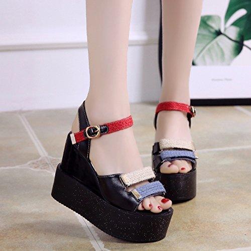 Verano Grueso Del Super Fondo KPHY de Pendiente Zapatos Muffin Alto Tacon Sandalias mujer Ocio Salvaje Plataforma Talon 12Cm black Impermeable Pretty PYqxATqI