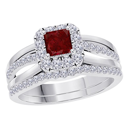 (2CT Princess Cut Cz Red Ruby 925 Sterling Silver Wedding Bridal Set Split Shank Halo Engagement Ring Set Size)