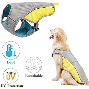 Kismaple Reflective Adjustable Dog Cooling Vest for Small Medium Large Dogs Puppy Cooling Jacket Pet Breathable Cooling Coat Summer Vest (L)