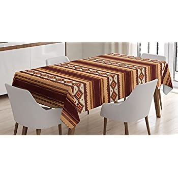 Native American Decor Tablecloth By Ambesonne, Native Ethnic Tribal  Indigenous Pattern, Dining Room Kitchen