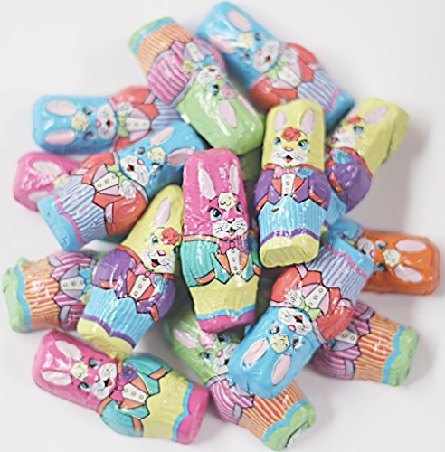 Scott's Cakes Foil Wrapped Solid Milk Chocolate Mini Bunnies in a 1 Pound Clear Cello Bag