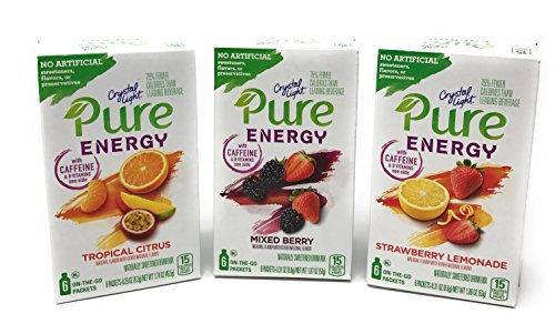 Crystal Light Pure Energy 3 Pack Variety NEW 2017 Flavors of Tropical Citrus, Mixed Berry, and Strawberry Lemonade