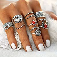 Nongkhai shop Women 14Pcs/set Bohemian Red White Turquoise Sun Charm Knuckle Rings Jewelry