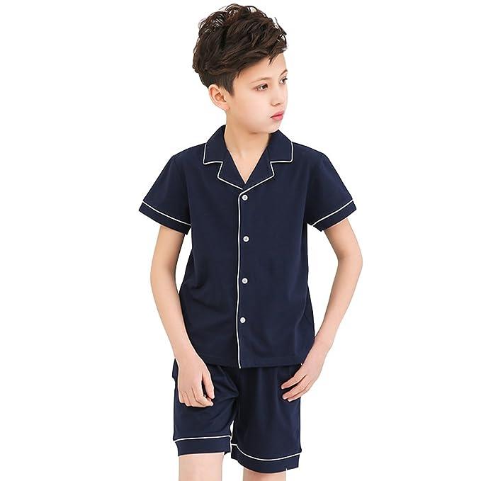 QianXiu Niño Verano Chico Confortable prendas de dormir camisa de punto Conjunto de pijamas de algodón Conjunto de pijama solapa Ropa de casa Ocio Clásico ...