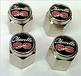 Chevrolet Chevelle Malibu SS 396 454 Valve Stem Caps (Chrome - Black)