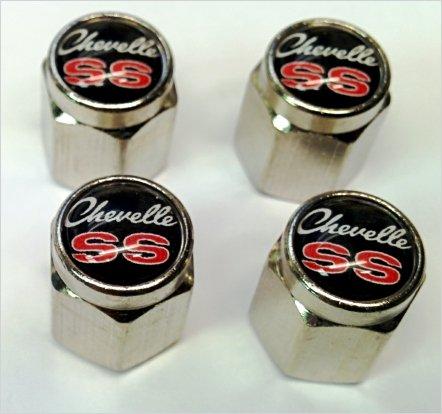 (Chevrolet Chevelle Malibu SS 396 454 Valve Stem Caps (Chrome -)