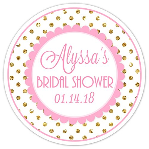 wedding shower stickers gold dots and pink stickers bridal shower labels reception favor