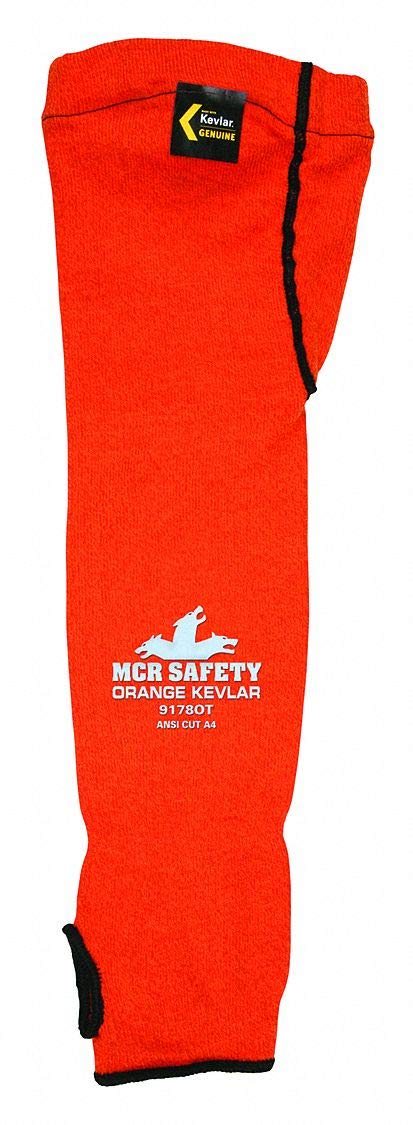 Kevlar Sleeve with Thumbhole, 18''L, Hemmed Cuff, Orange, Sleeve Size: Universal
