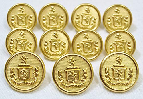 MetalBlazerButtons.com Brand Premium GOLD Finished ~TWO LION CREST~ [11-BUTTON] Single Breasted Set METAL BLAZER BUTTONS