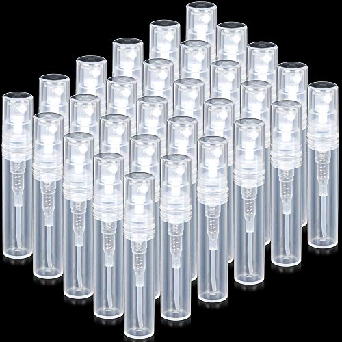 FANDAMEI Mini Clear Plastic Spray Bottle Empty Cute Perfume Atomizer for Cleaning, Travel, Essential Oils, Perfume (30 pack, 3 ml) ()