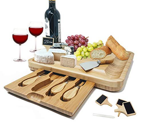 Bamboo Cheese Board with Stainless Steel Knife Set & Cheese Markers x 4 and Slide-Out Cutlery Drawer by Port de Monaco ()