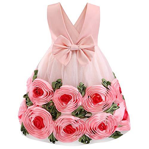 Girls Dress Backless Floral Flare Sleeve Bow Kids Dresses for Girls Princess Dress,Pink1,4T -