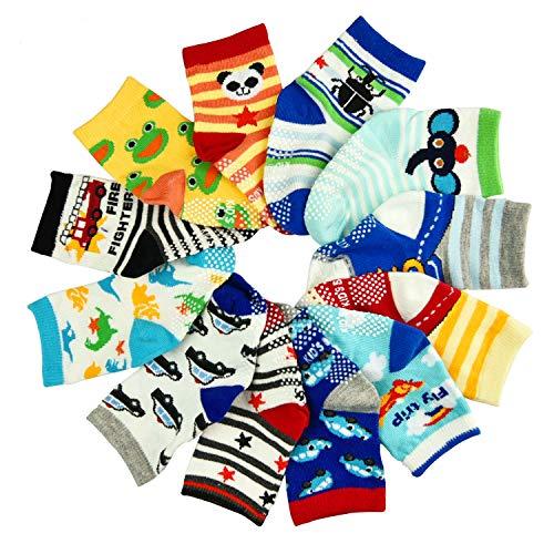 Toddler Girl Boy Socks 12 Pairs Baby Socks Non Skid Slipper Kid Socks Grips 3-5 Years Old Baby -