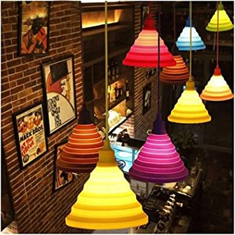 Folding lampshade colorful silicone e27 lamp holder pendant lights folding lampshade colorful silicone e27 lamp holder pendant lights diy ceiling light home decor mozeypictures Image collections