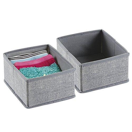 mDesign Fabric Dresser Drawer Storage Organizer for Underwear, Socks, Bras, Tights, Leggings - Set of 2, Small, (Drawer Small Dresser)