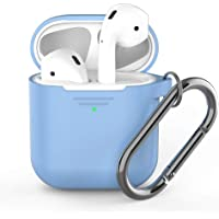 KeyBudz - PodSkinz Keychain AirPods Case with Carabiner Compatible with Apple Airpods 1 & AirPods 2 - Baby Blue
