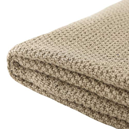 Treely 100% Cotton Cable Knit Throw Blanket for Couch Chair Bed Home Decorative,Soft & Cozy Knit Throws(Khaki,50