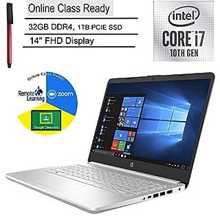 "2020 HP 14 Laptop Computer_ 14"" FHD_ 10th Gen Intel Quard-Core i7 1065G7 up to 3.9GHz_ 32GB DDR4_ 1TB PCIe SSD_ Online Class Ready_ Webcam_ HDMI_ Silver_ Windows 10_ BROAGE 64GB Flash Drive"