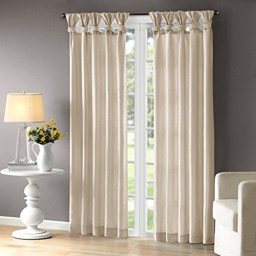 Madison Park Emilia Room-Darkening Curtain DIY Twist Tab Window Panel Black-Out Drapes for Bedroom and Dorm, 50x95, Champagne (Silk White Drapes)