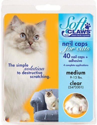 Soft Claws Nail Caps for Cats, Clear Size Medium 9-13 lbs, CLS (Cleat Lock System)