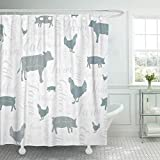 Emvency 72'x78' Shower Curtain Waterproof Bathroom Home Decor Modern Farmhouse Cow Chicken and Pig Pattern in Blue Gray Green Silver Swirly Script Polyester Fabric Adjustable Hooks Set