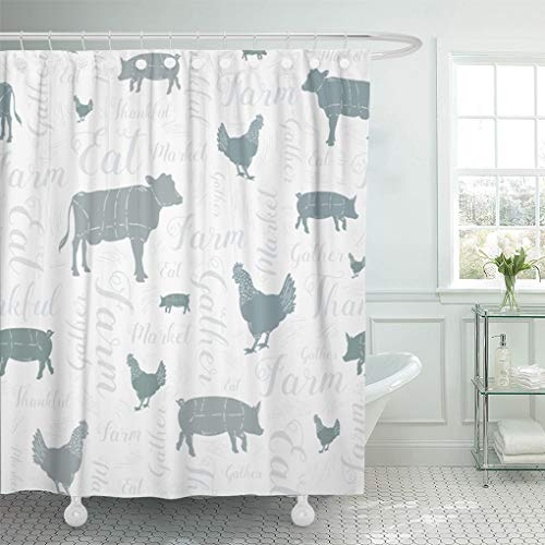 "Emvency 72""x78"" Shower Curtain Waterproof Bathroom Home Decor Modern Farmhouse Cow Chicken and Pig Pattern in Blue Gray Green Silver Swirly Script Polyester Fabric Adjustable Hooks Set"