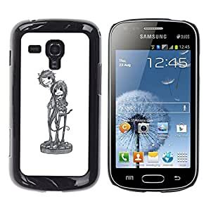 Enfriar Banda de Música de Arte de caracteres Sketch- Metal de aluminio y de plástico duro Caja del teléfono - Negro - Samsung Galaxy S Duos S7562