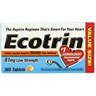 Ecotrin Low Strength, 81 mg, #1 Cardiologist Recommended, Safety Coated Aspirin-Pain Reliever, 365 Tablets