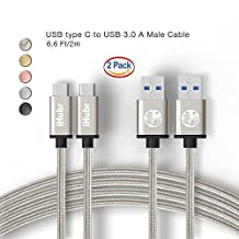 iHubr, SPECIAL SET – 2 PACK – 6.6 Ft (2M) Length, USB C Cable to USB 3.0, Nylon Braided Cable, Metal Housing, for New Macbook, Samsung Galaxy S8/S8+, Nexus 6P/5X and Other Type-C Devices (Silver)