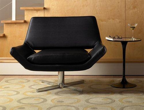 Swivel Avenue - Avenue Six Yield Wide Swivel Chair, Black Vinyl