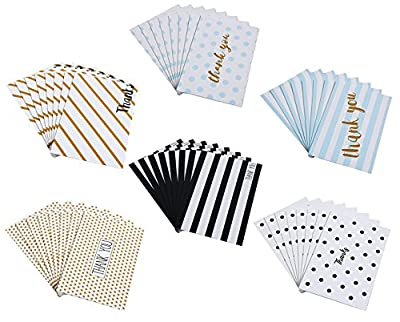Thank You Cards Box Set Assortment - 6 Unique Polka Dot and Stripe Designs - 48 Pack of Cards with Envelopes - 4 x 6 inches