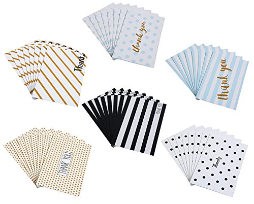 48 Pack Thank You Cards Box Set Assortment - 6 Unique Polka Dot and Stripe Designs - 48 Pack of Cards with Envelopes - 4 x 6 inches (Thank Stationery You)